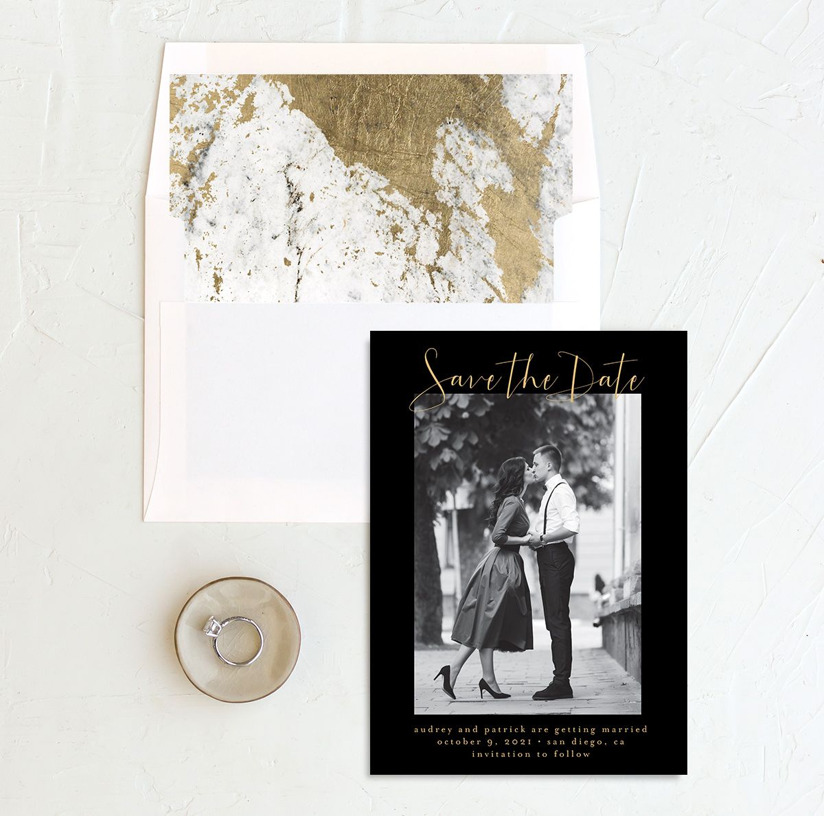 Marble and Gold photo save the date with liner in black