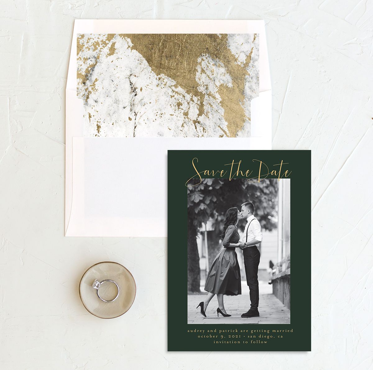 Marble and Gold photo save the date with liner in green