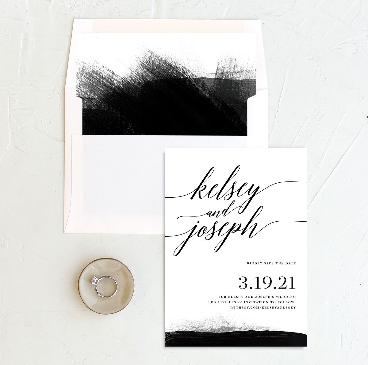 Painted Minimal wedding save the date with liner