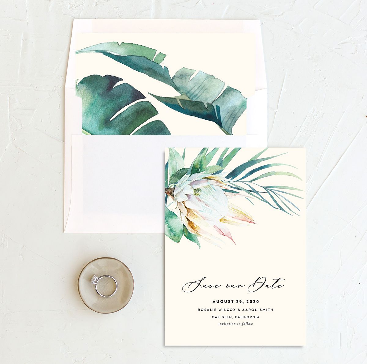Palm and Protea Save the Dates with liner