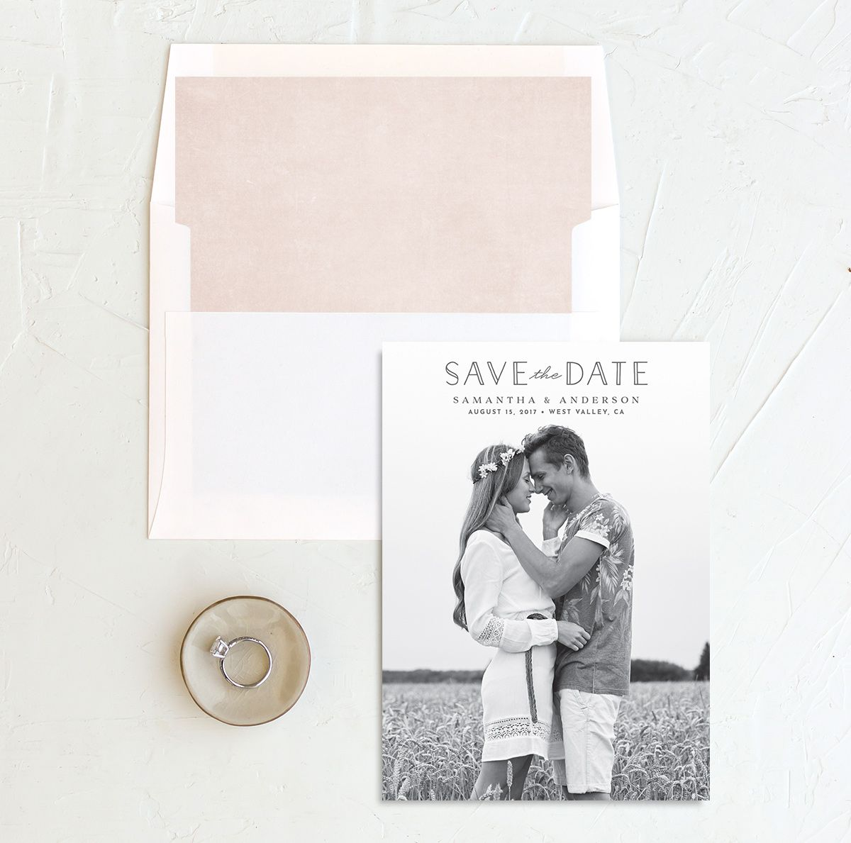 Romantic Garland Photo Save the Dates with liner