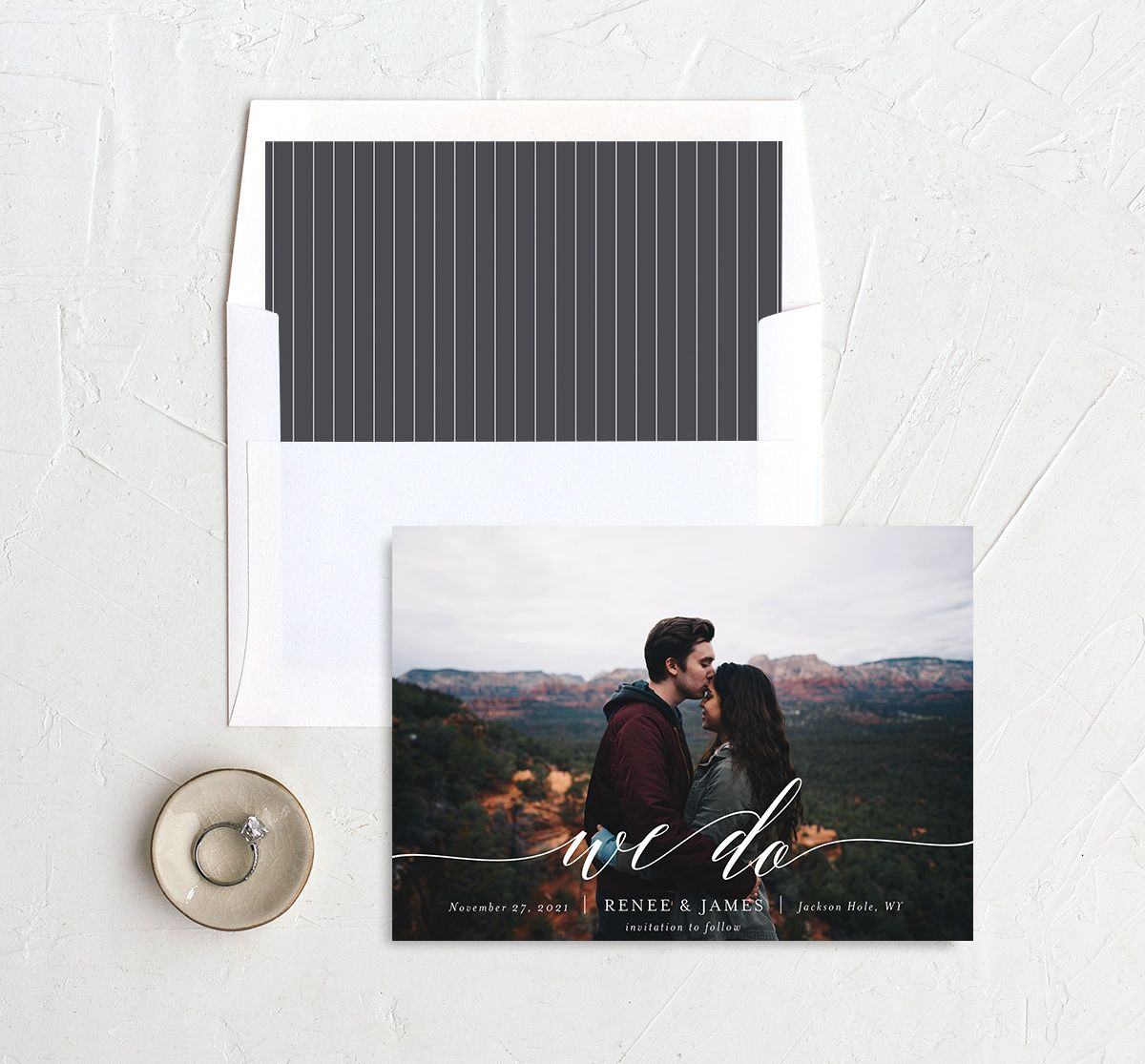 Scripted We Do Photo Wedding Announcements in grey with liner