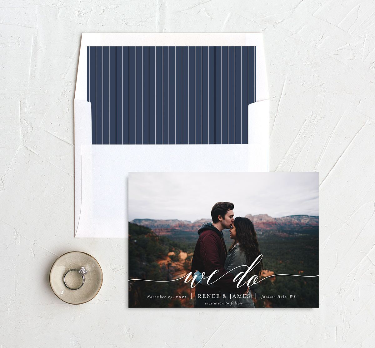 Scripted We Do Photo Wedding Announcements in navy with liner