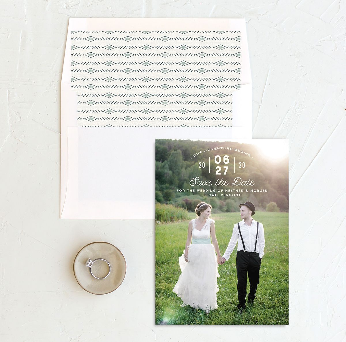 Vintage Mountain photo save the date with liner