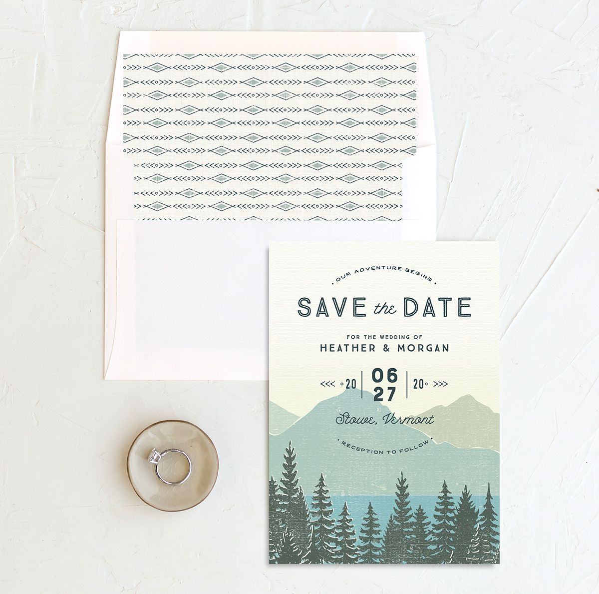 Vintage Mountainside save the date with liner