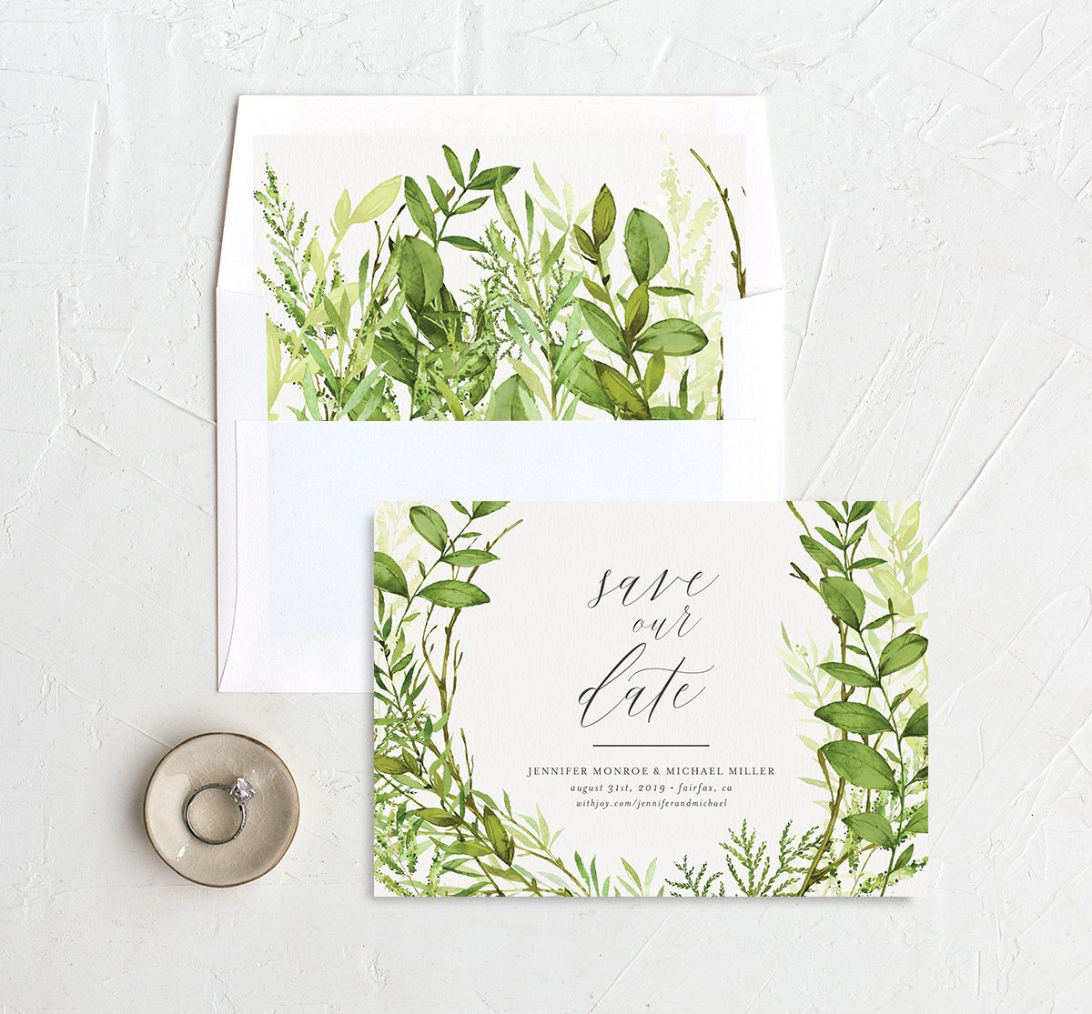 Watercolor Greenery save the date card with liner