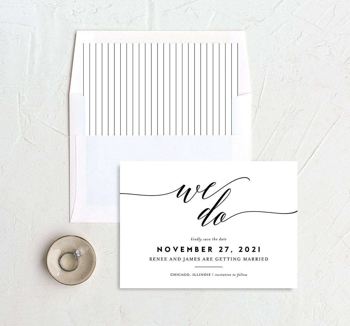 We Do Wedding Save the Dates in black with liner