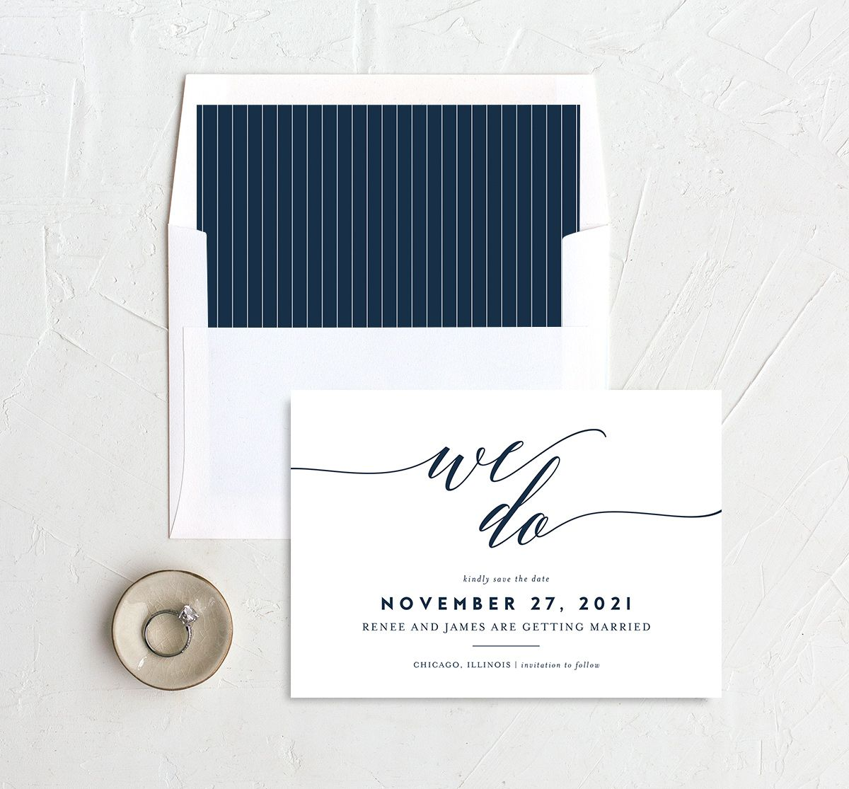 We Do Wedding Save the Dates in navy with liner