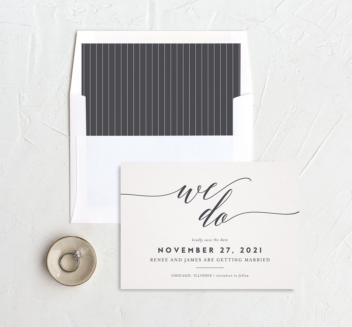 We Do Wedding Save the Dates in grey with liner