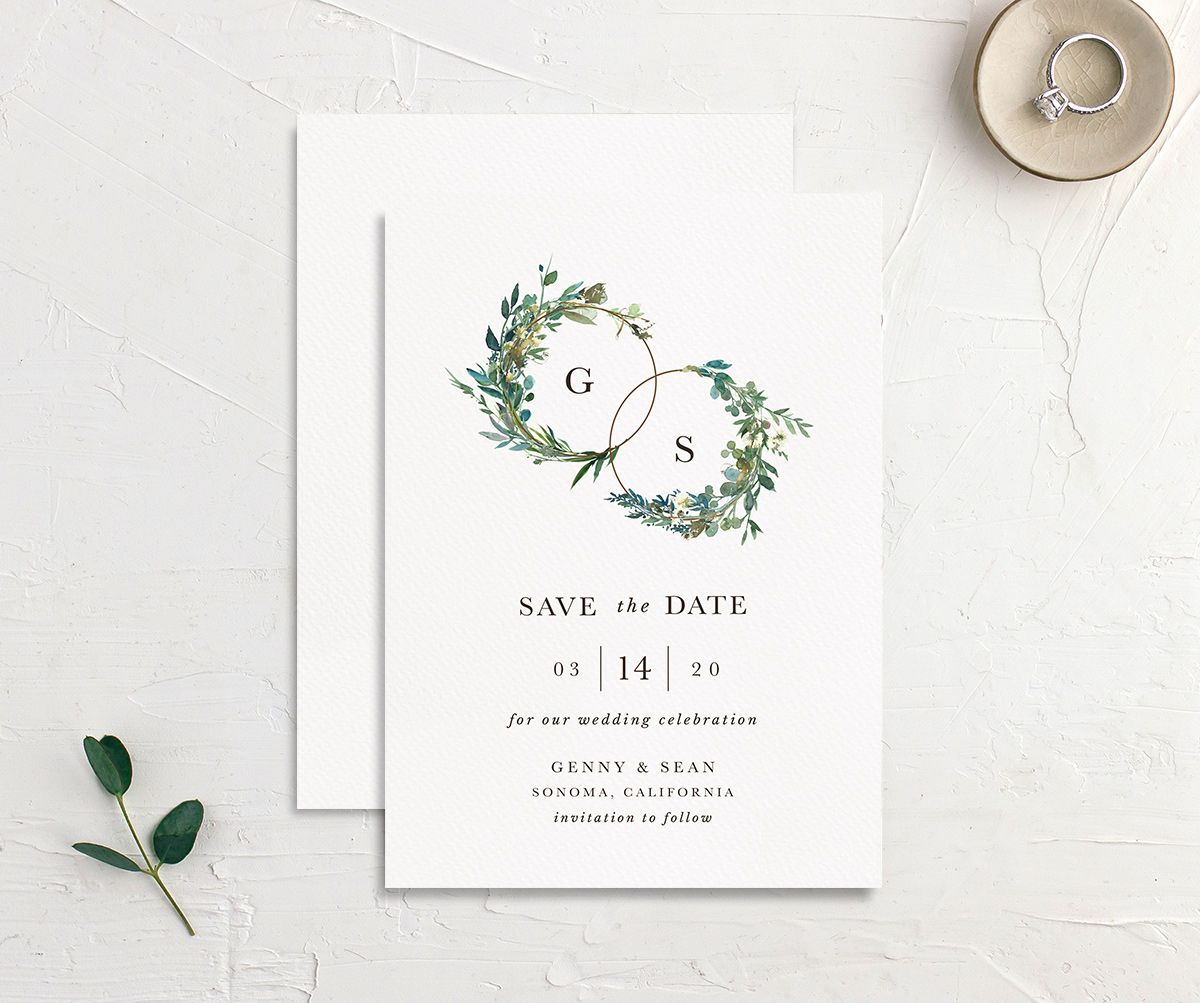 Leafy Hoops wedding save the date front & back
