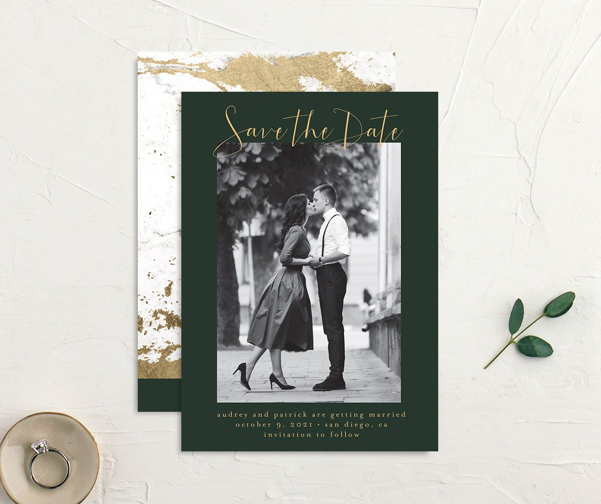 Marble and Gold photo save the date front & back in green