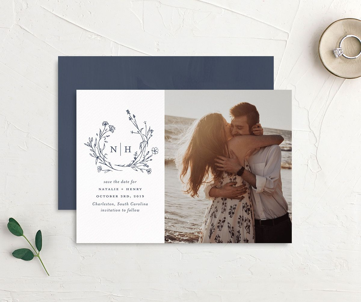Natural Monogram photo save the date front & back in blue