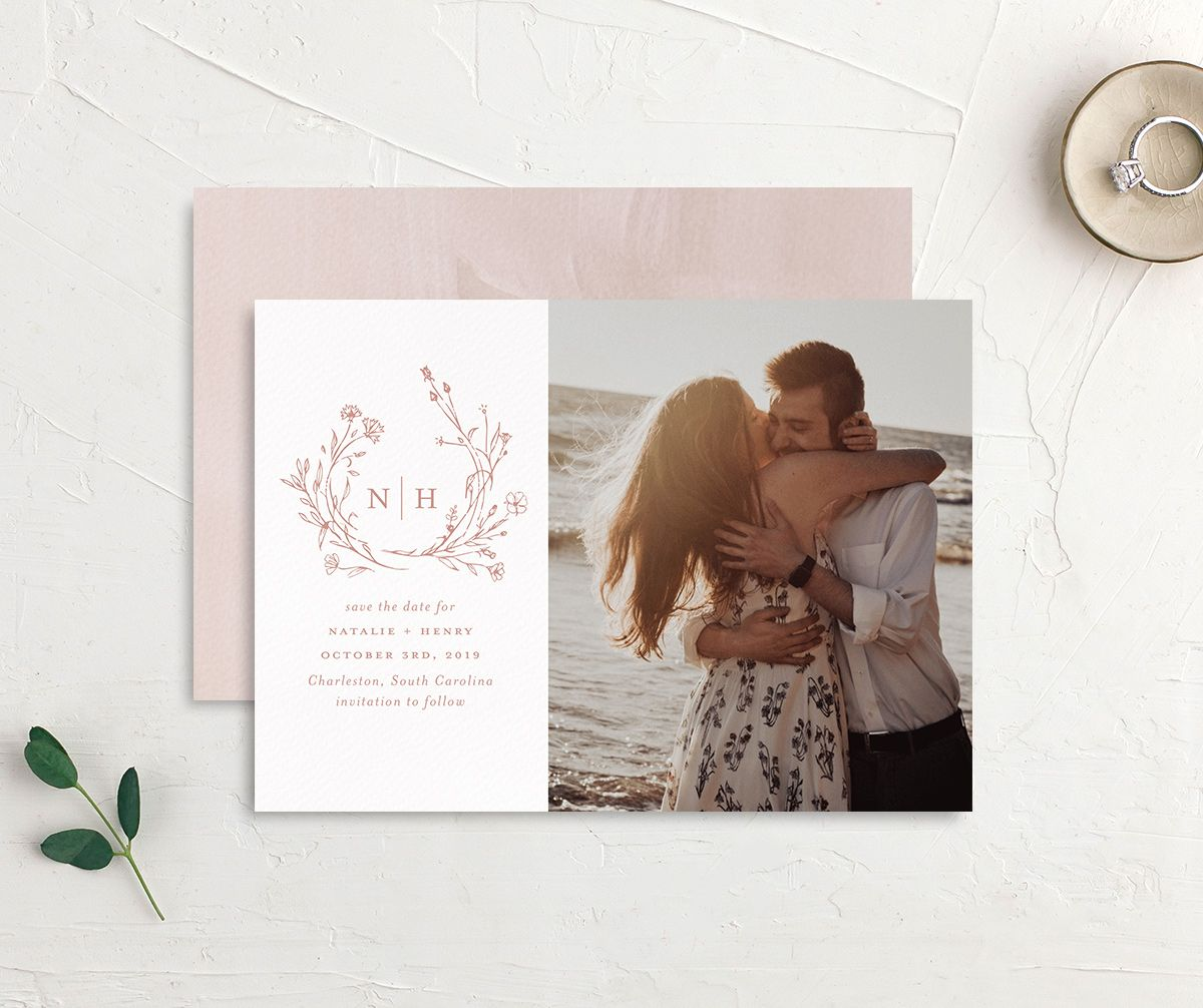 Natural Monogram photo save the date front & back in pink