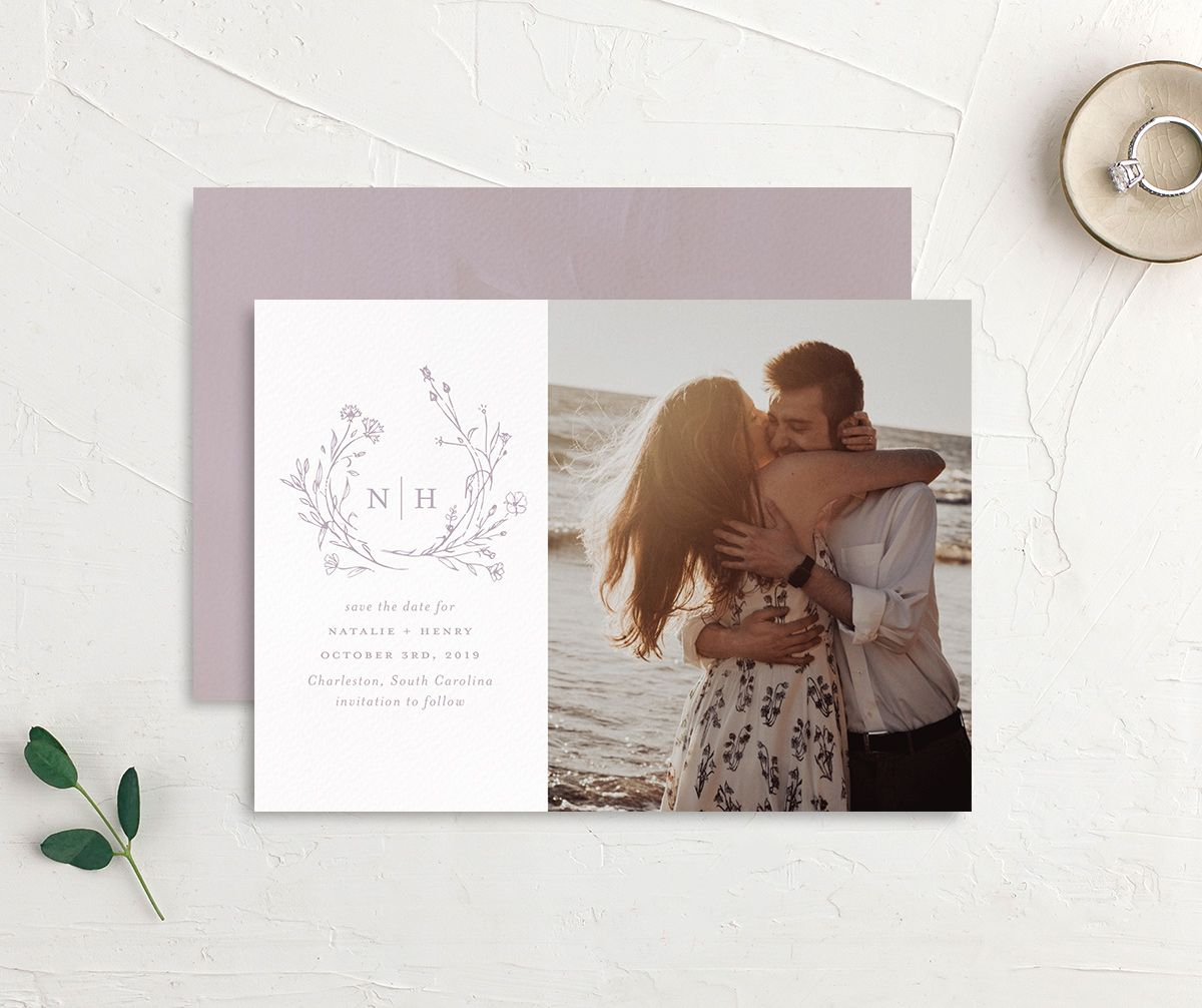 Natural Monogram photo save the date front & back in purple