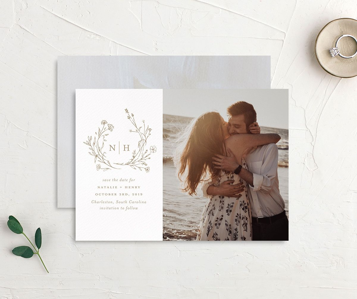 Natural Monogram photo save the date front & back in tan