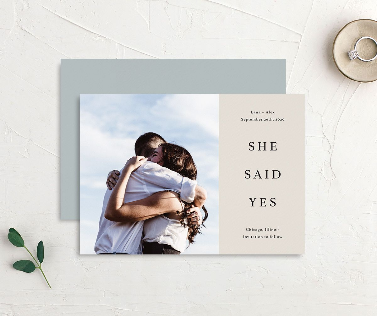 Natural Palette She Said Yes save the date postcards in wblue front & back