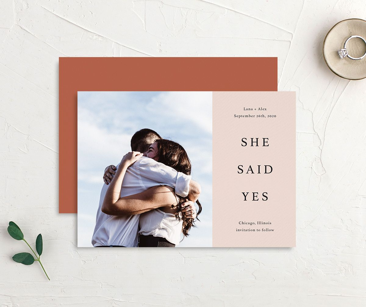 Natural Palette She Said Yes save the date postcards in pink front & back