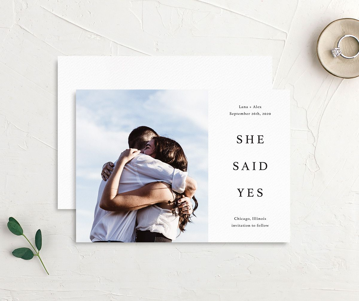 Natural Palette She Said Yes save the date postcards in white front & back