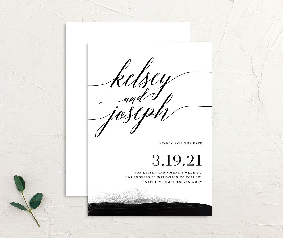 Painted Minimal wedding save the date front & back