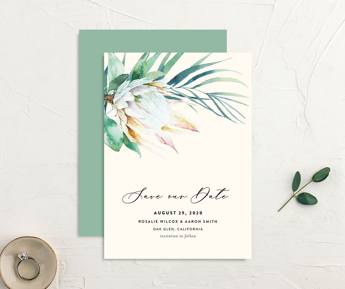 Palm and Protea Save the Date cards front & back