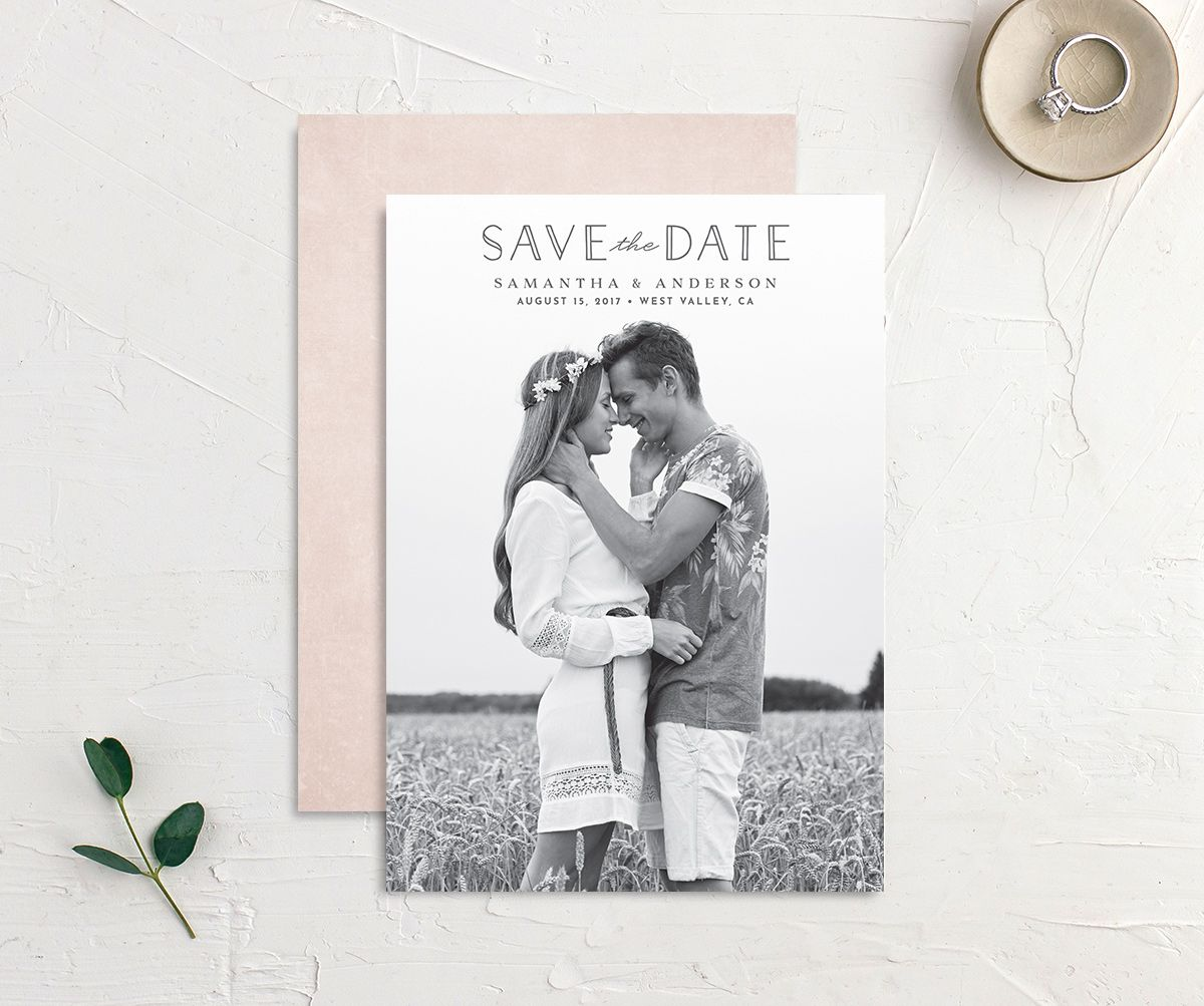 Romantic Garland Photo Save the Dates front & back