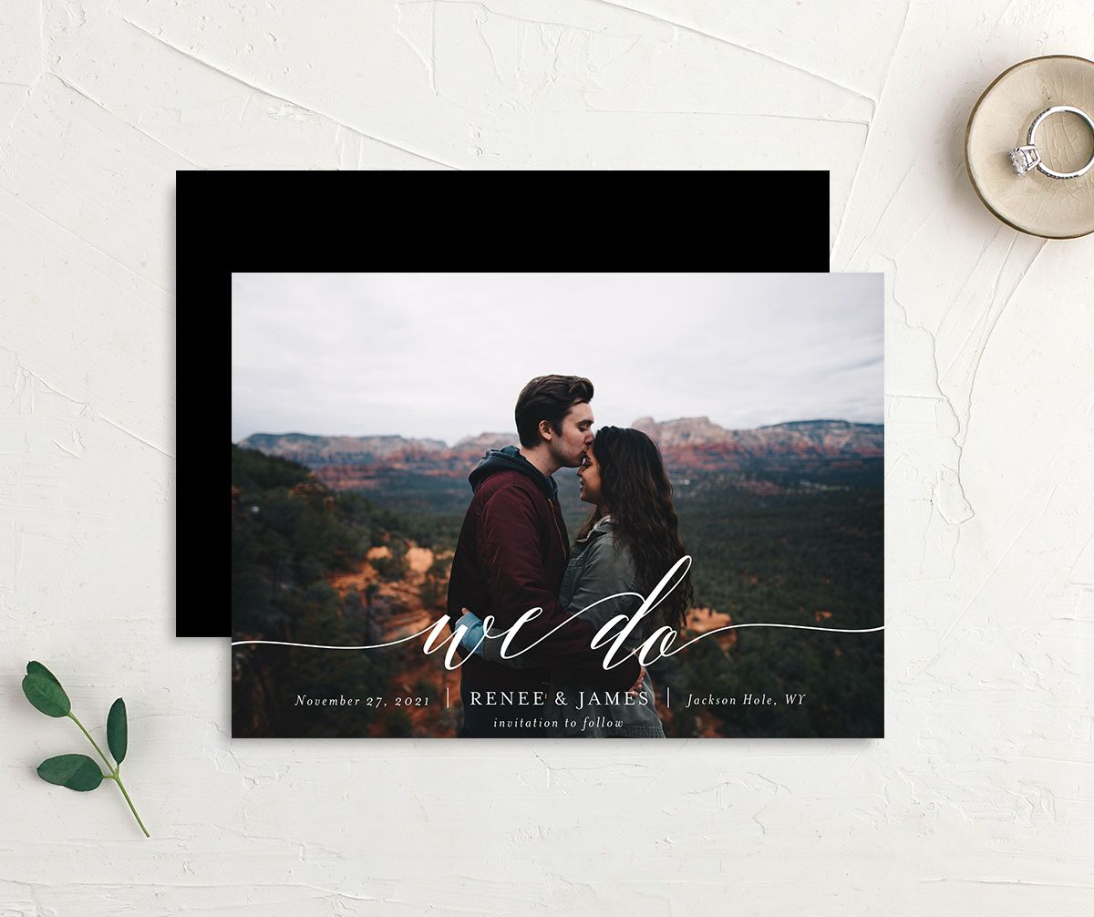 Scripted We Do Photo Wedding Announcements front & back in black