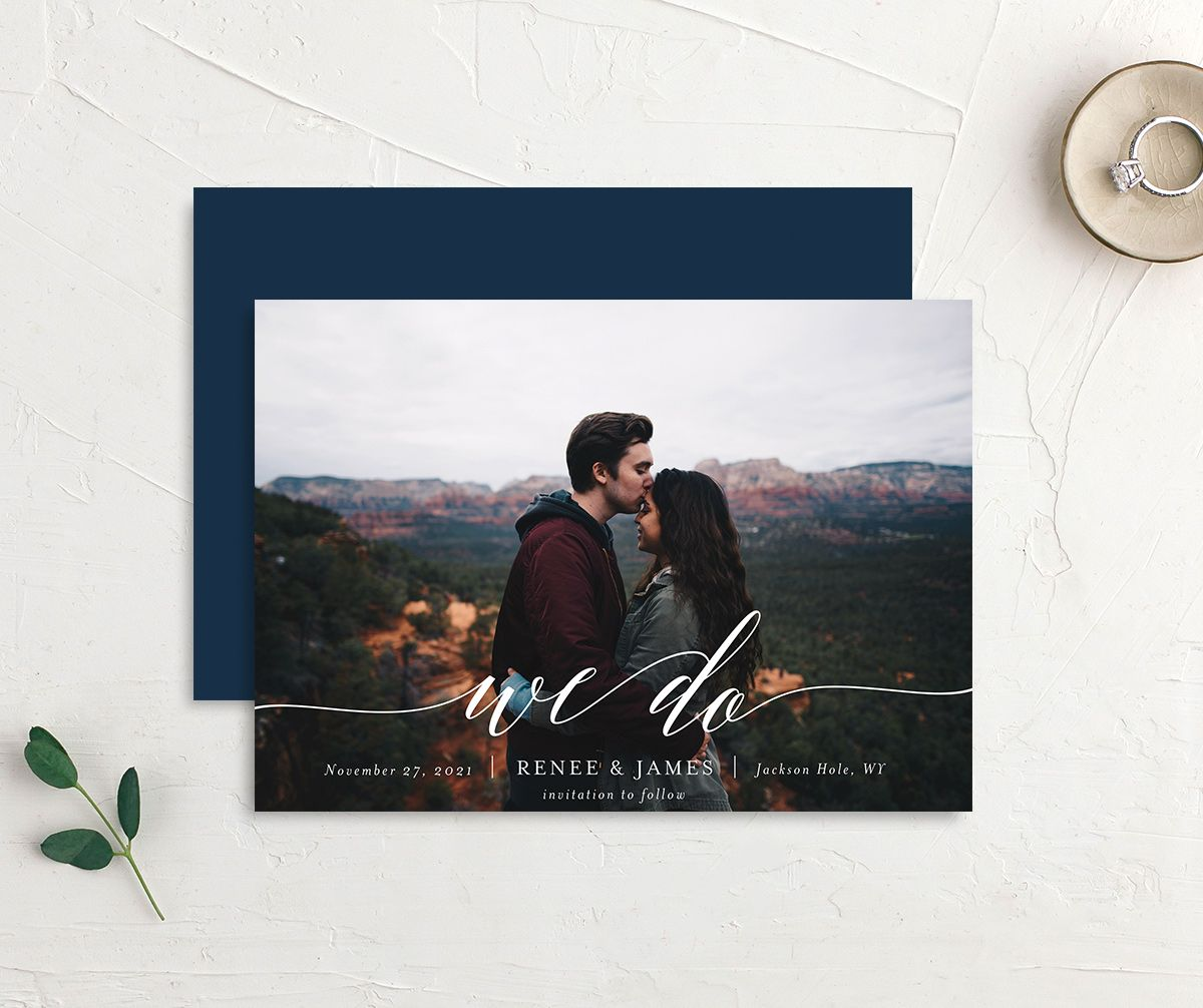 Scripted We Do Photo Wedding Announcements front & back in navy