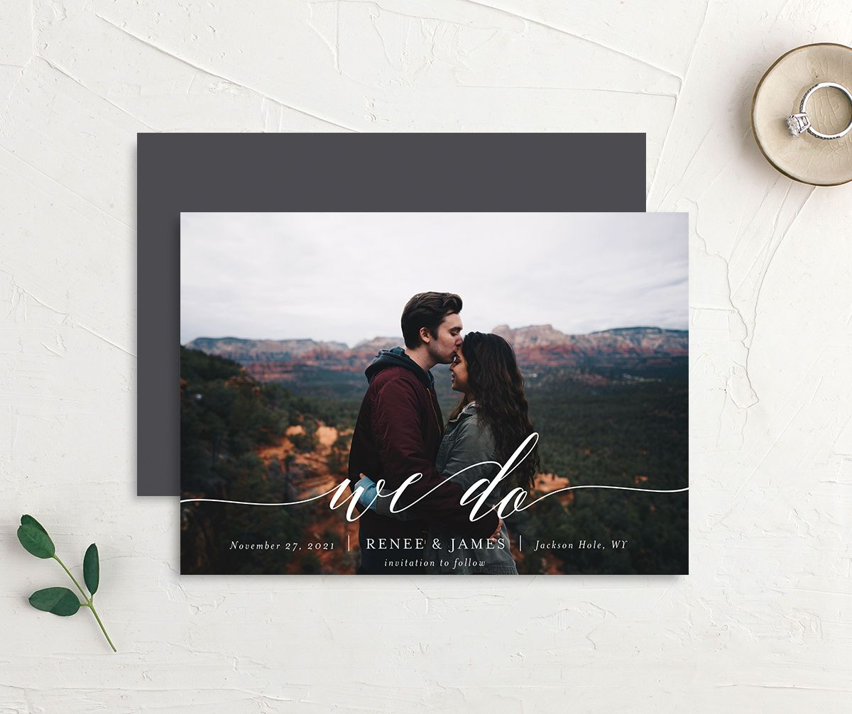 Scripted We Do Photo Wedding Announcements front & back in grey