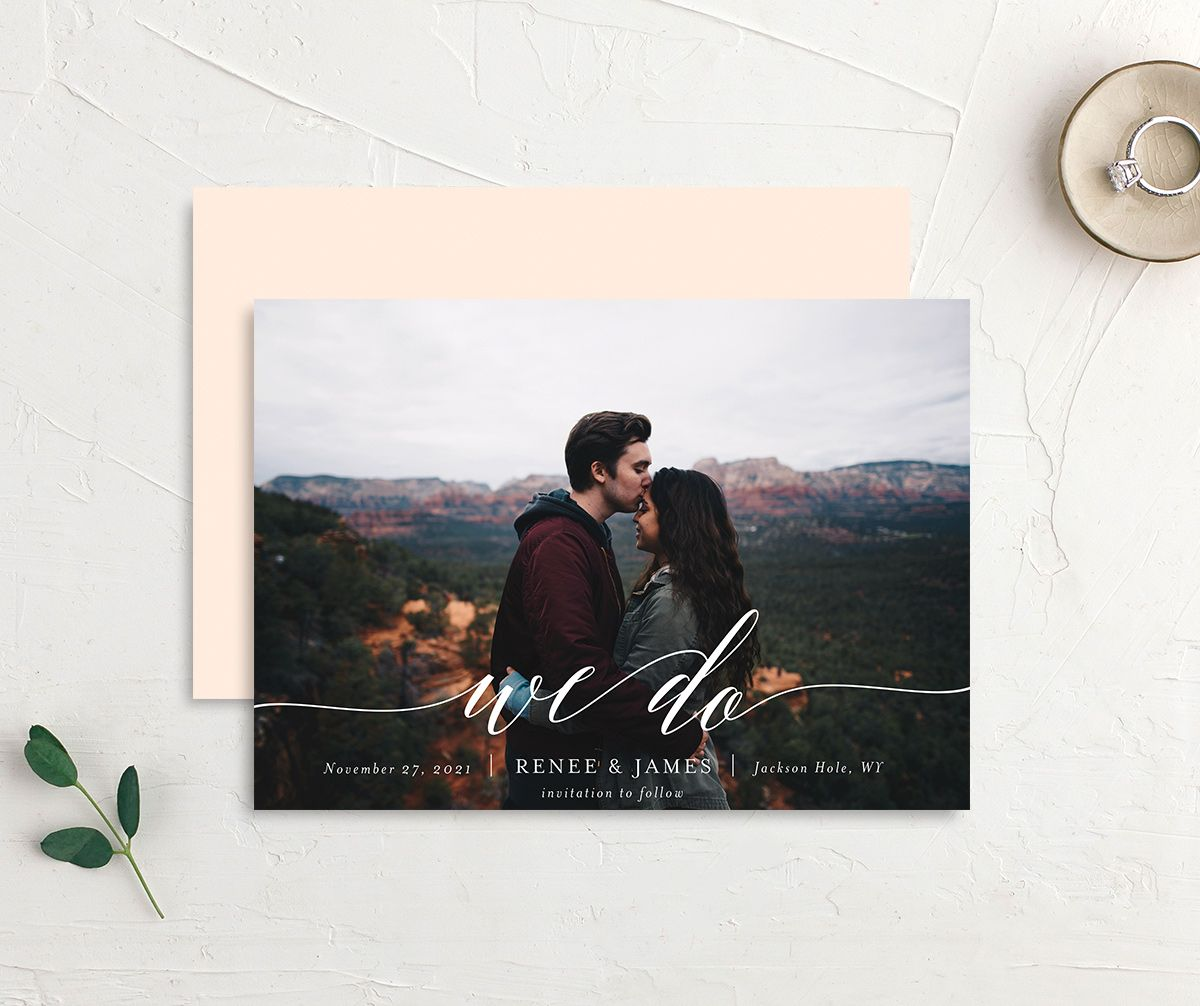 Scripted We Do Photo Wedding Announcements front & back in pink