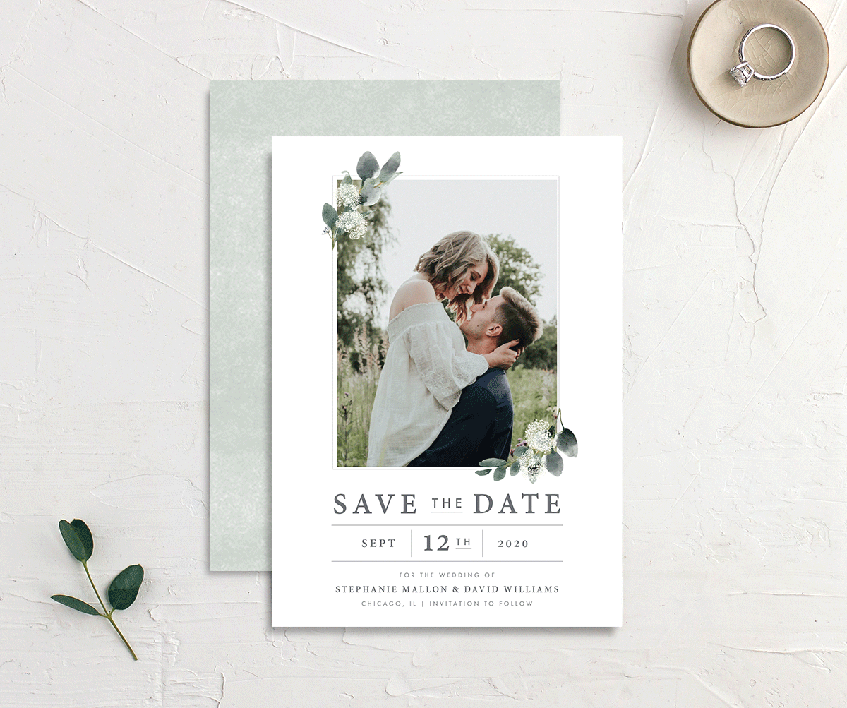 greenery branches photo wedding announcement cards