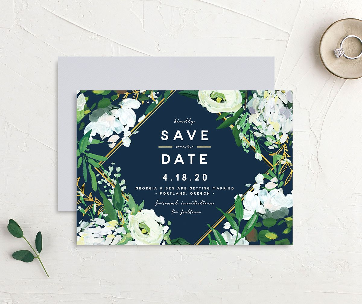 Painted Greenery save the date card navy