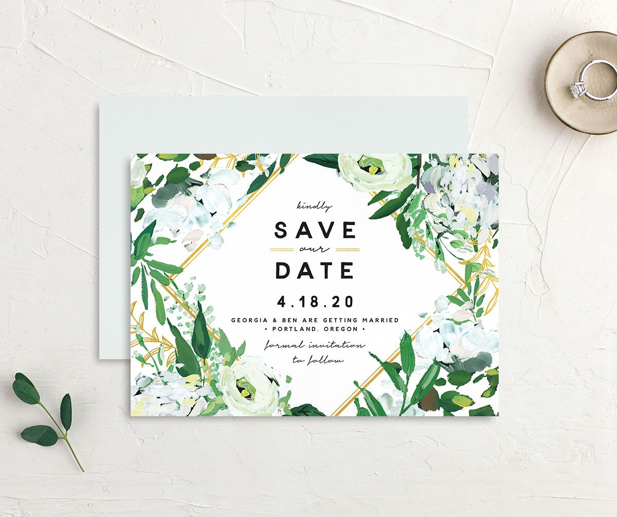 Painted Greenery save the date card white