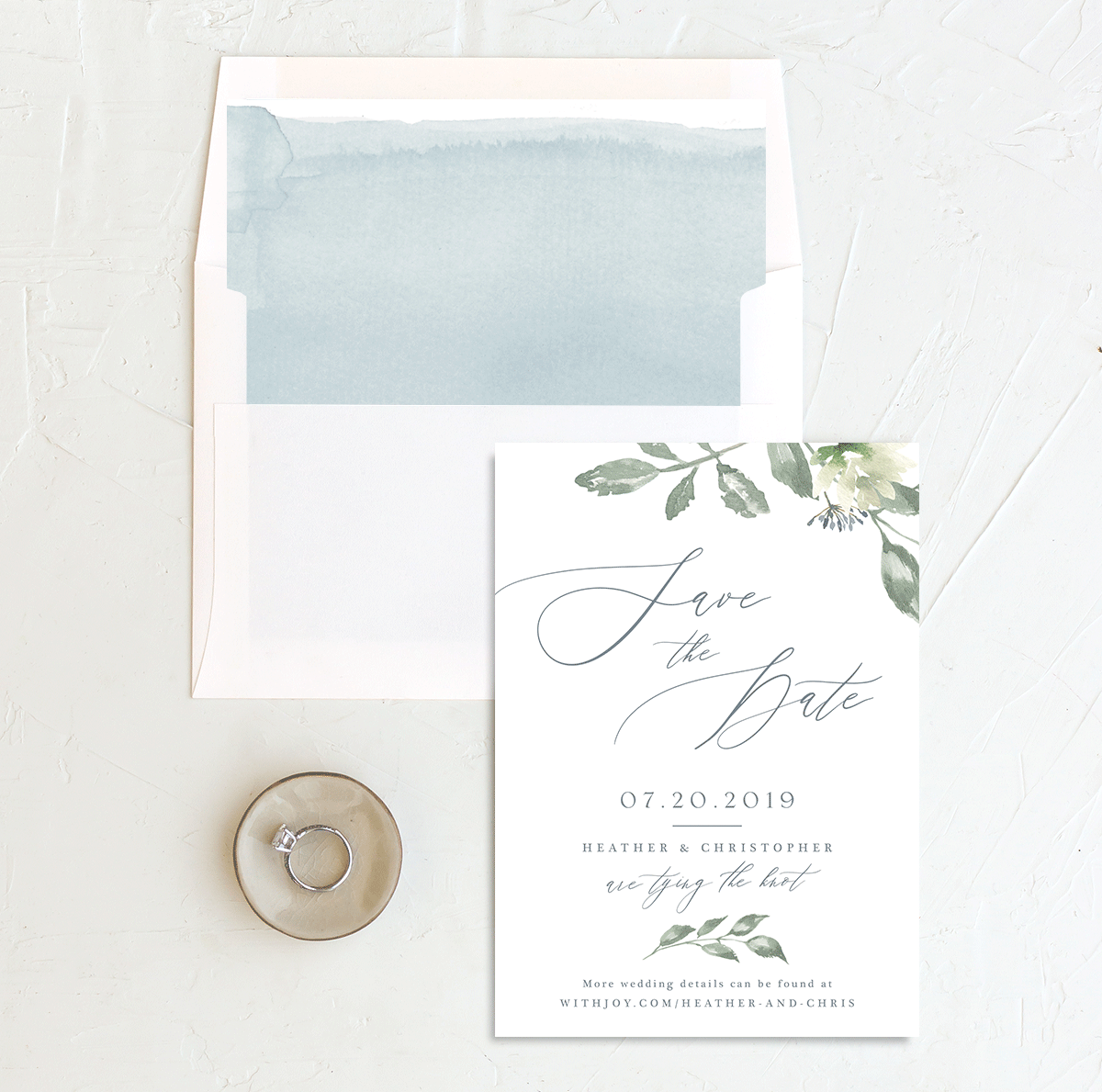 Dusted Calligraphy save the date blue W/ LINER merch