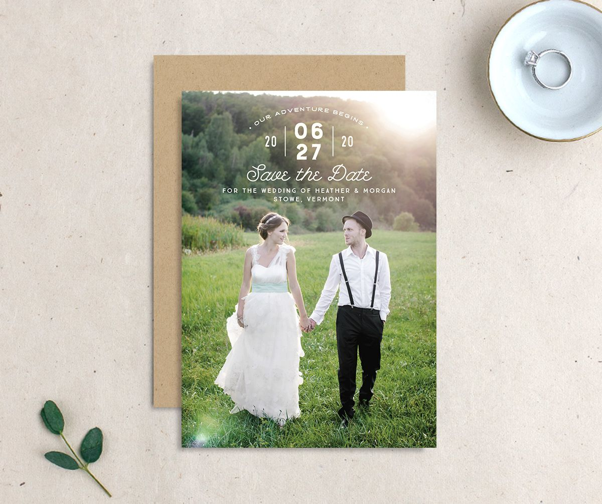 Vintage Mountain photo save the date front & back