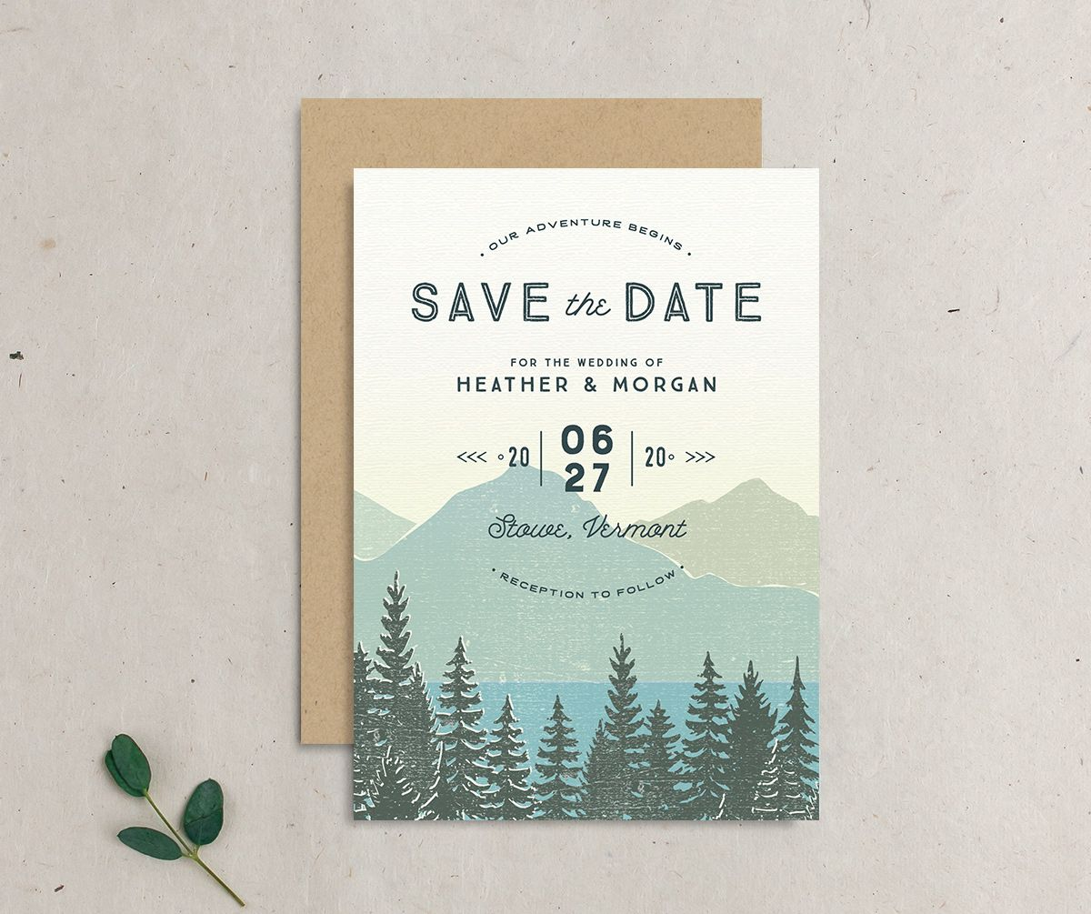 Vintage Mountainside save the date front & back
