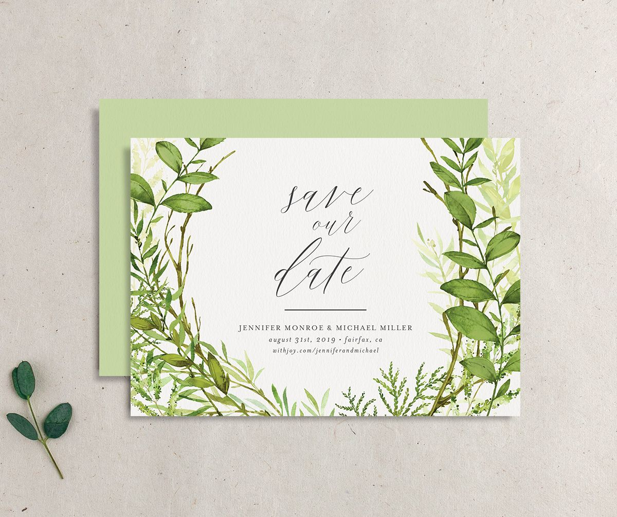 Watercolor Greenery wedding save the date front & back