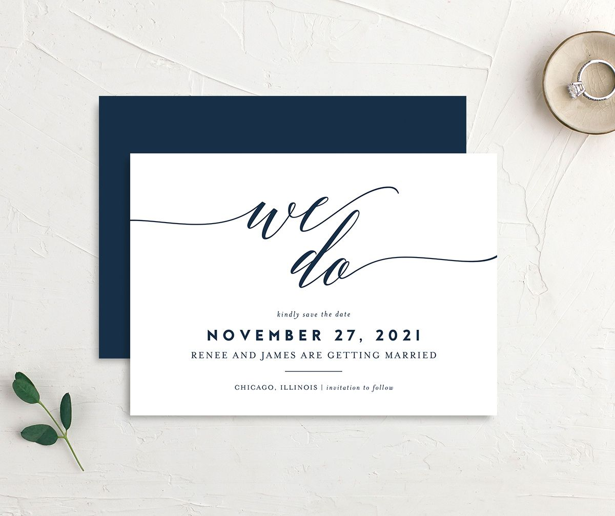 We Do Wedding Announcements in navy