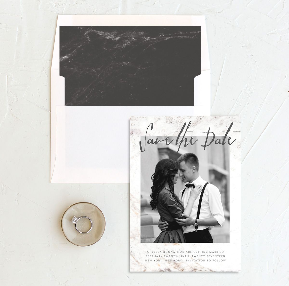 Mod Marble save the date with liner