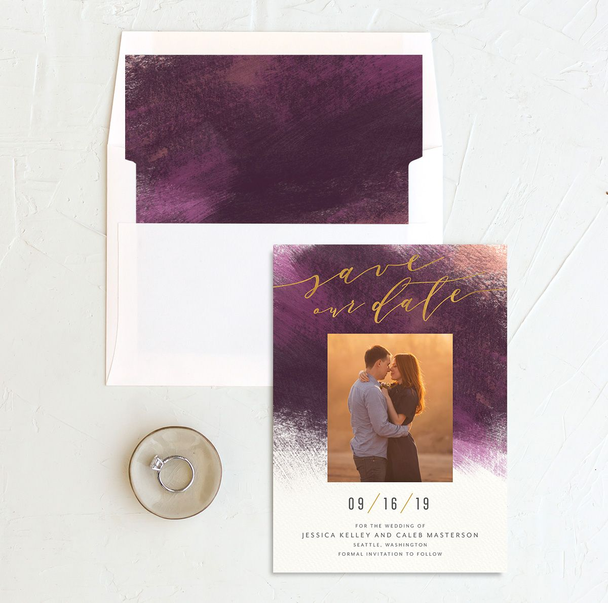 Modern Brush save the date with liner