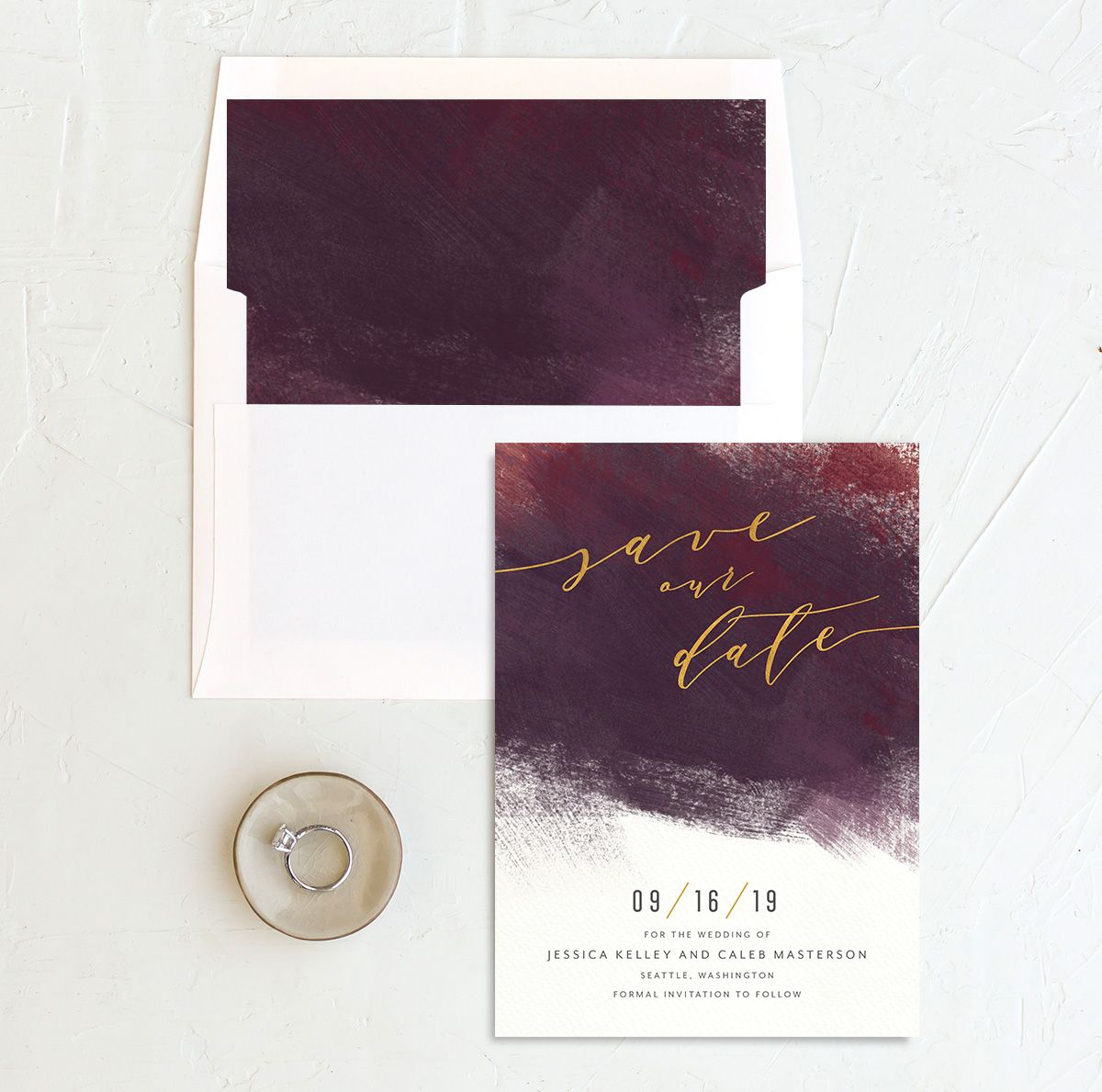 Modern Brushstroke save the date with liner