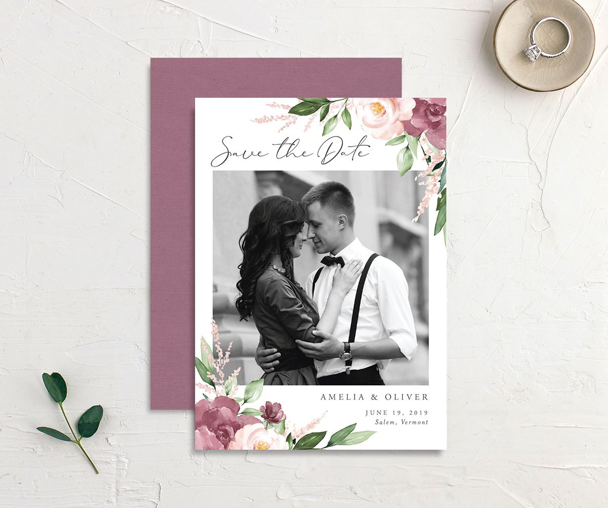 Beloved Photo Save the Date in Purple