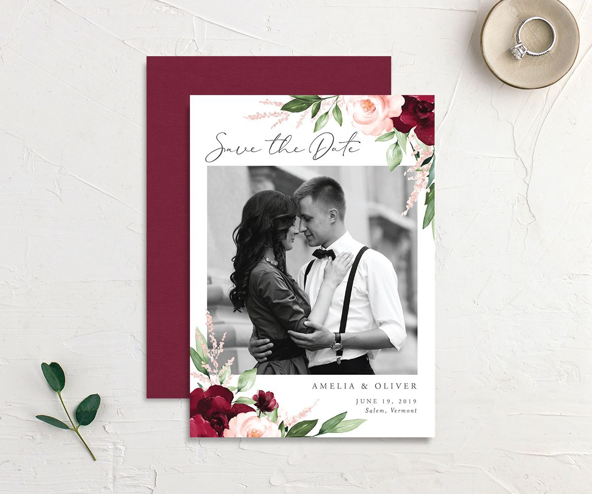Beloved floral photo save the dates