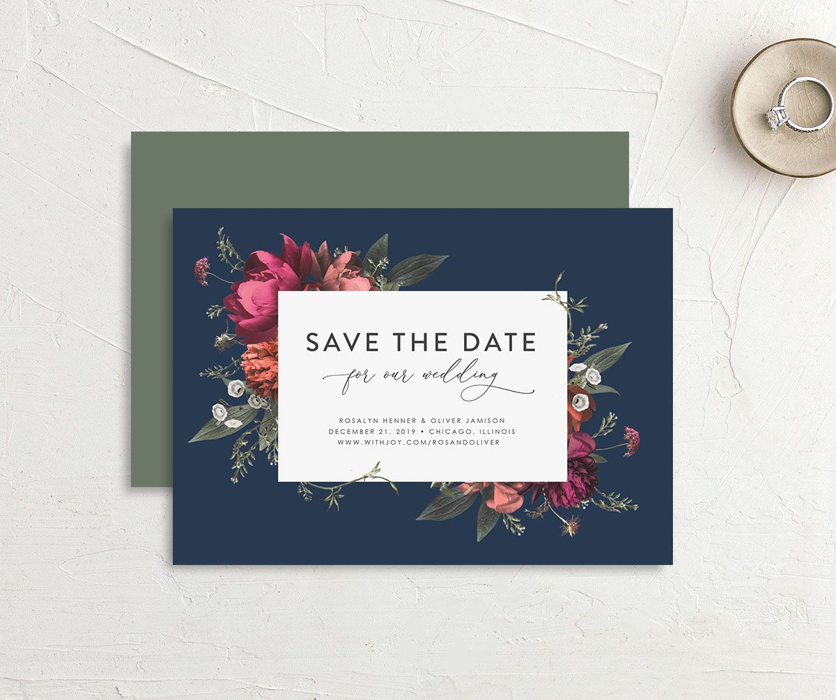 Blooming Botanical save the date blue