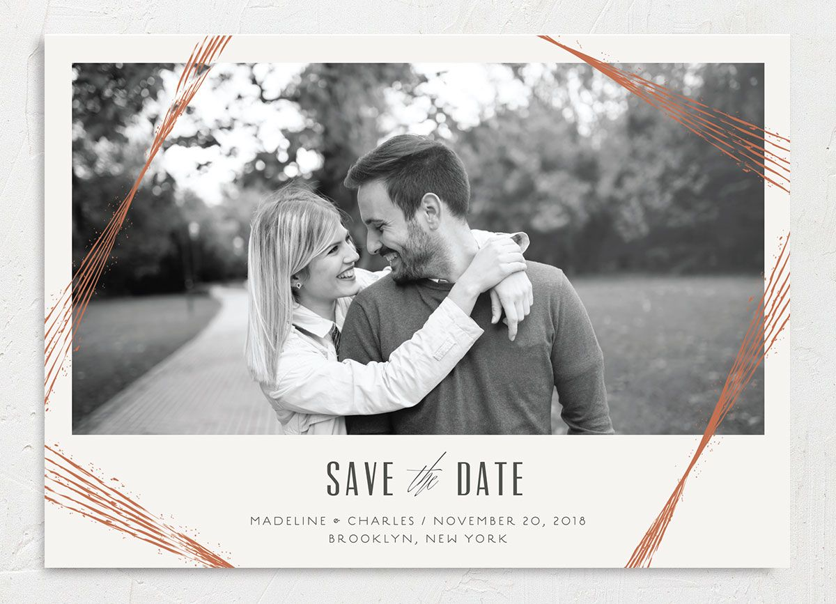 elegant industrial save the date cards