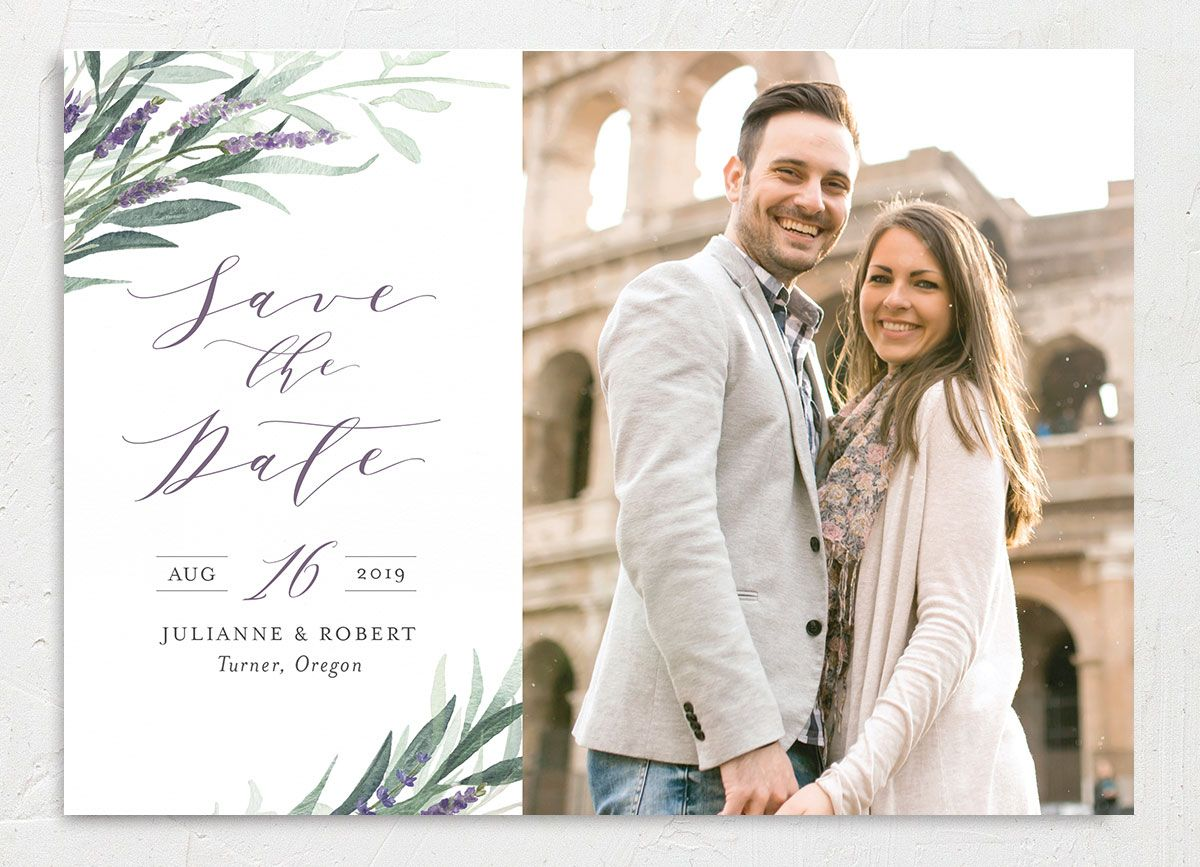 lavender sage photo save the date cards