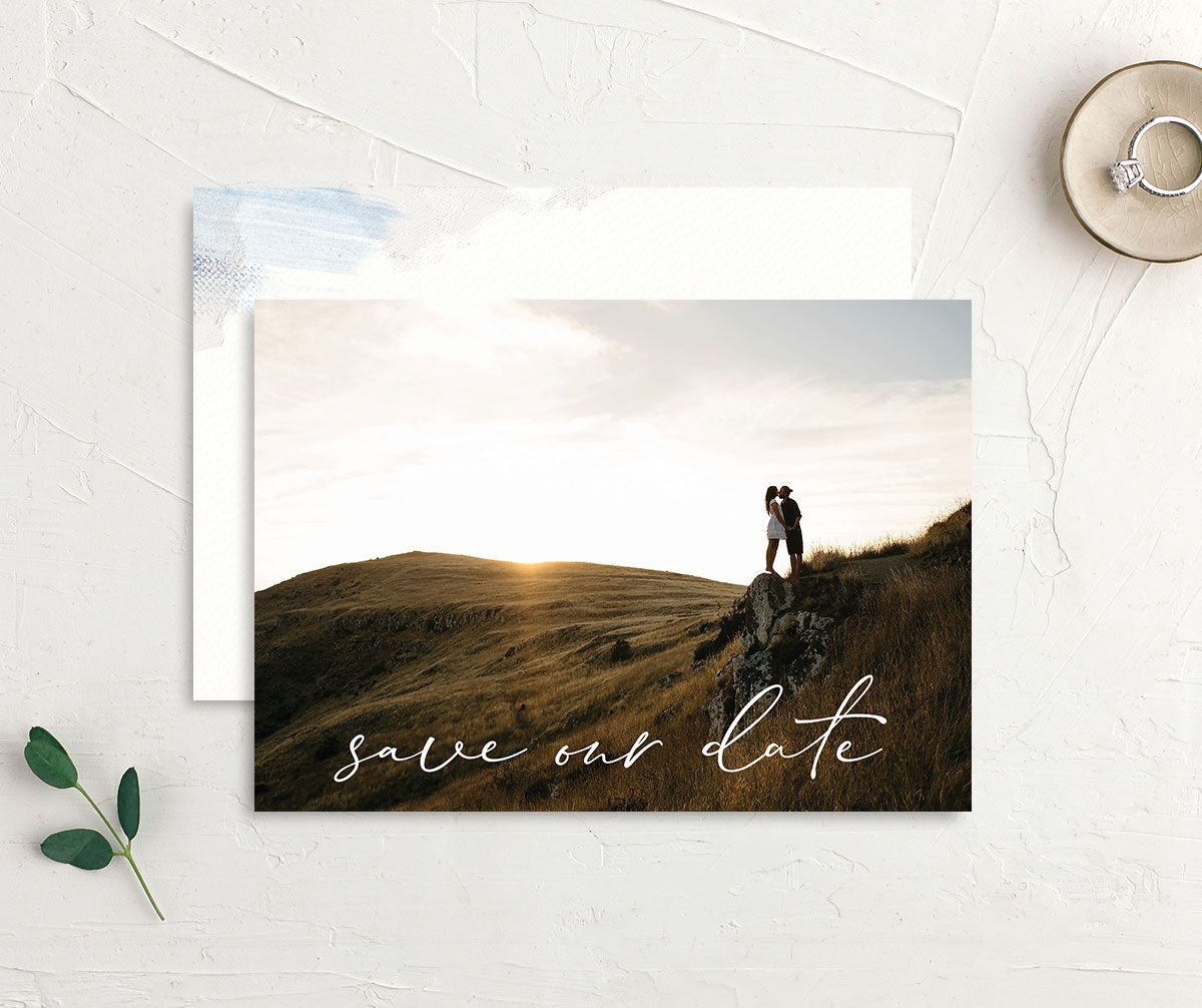 Minimal Brush save the date blue