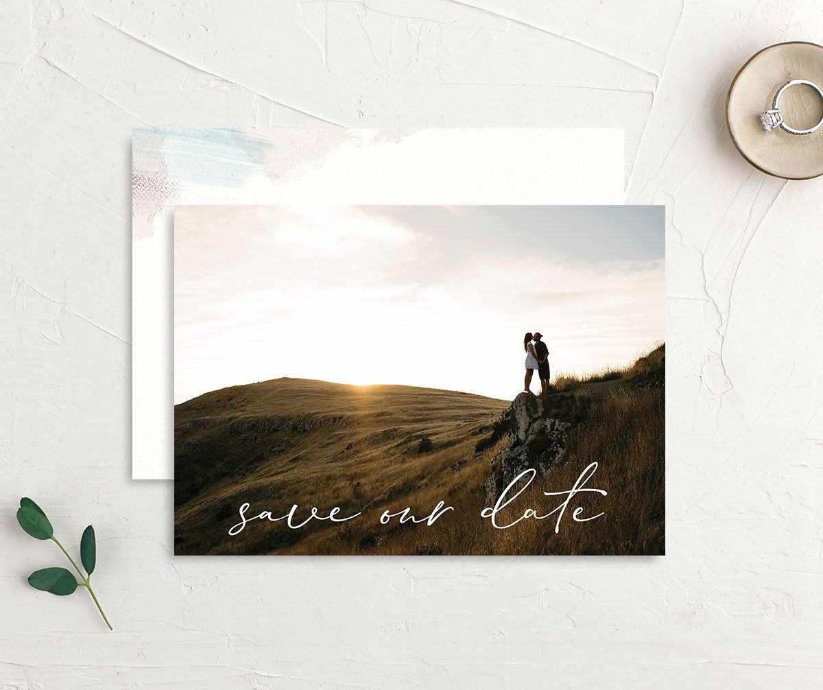 Minimal Brush save the date green