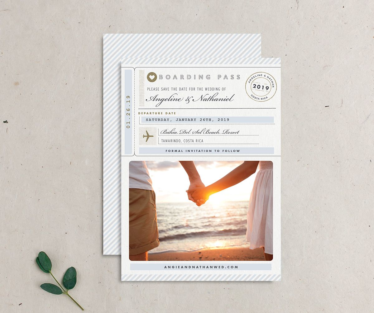 Vintage Boarding Pass save the date blue