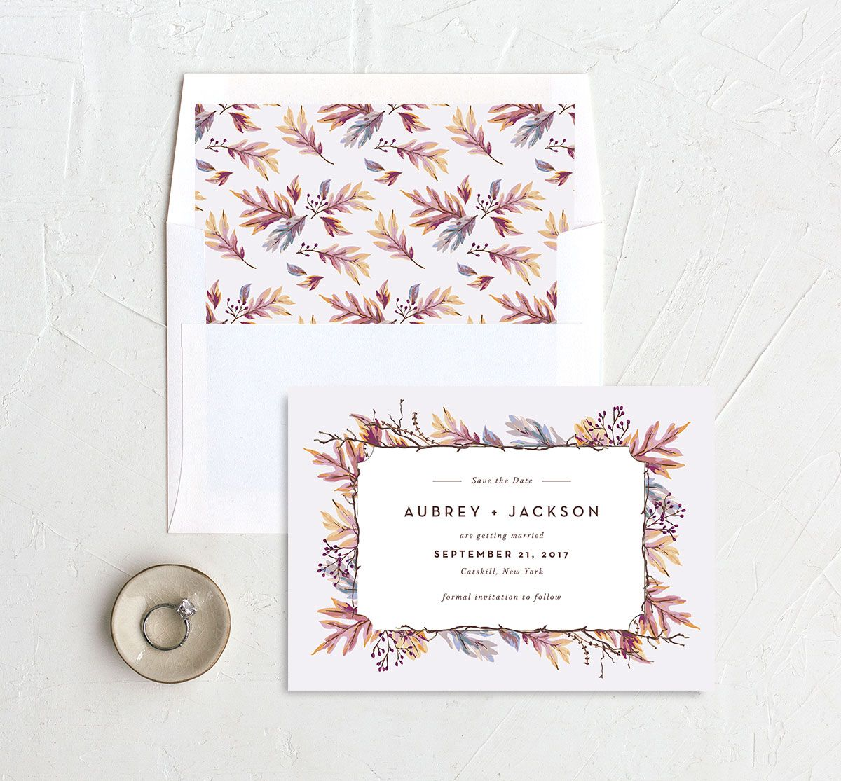 Autumn Leaves save the date with liner