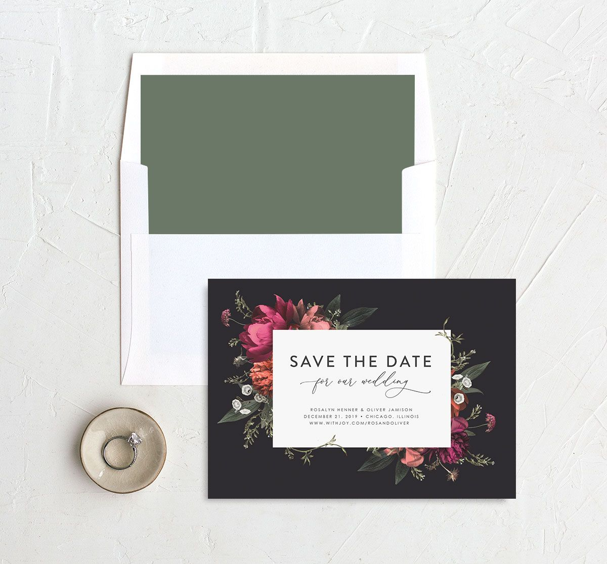 Blooming Botanical save the date black